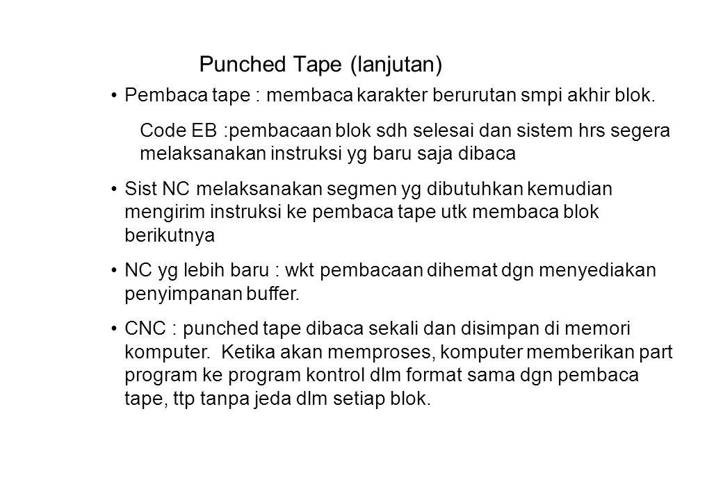 Punched Tape (lanjutan) Pembaca tape : membaca karakter berurutan smpi akhir blok.
