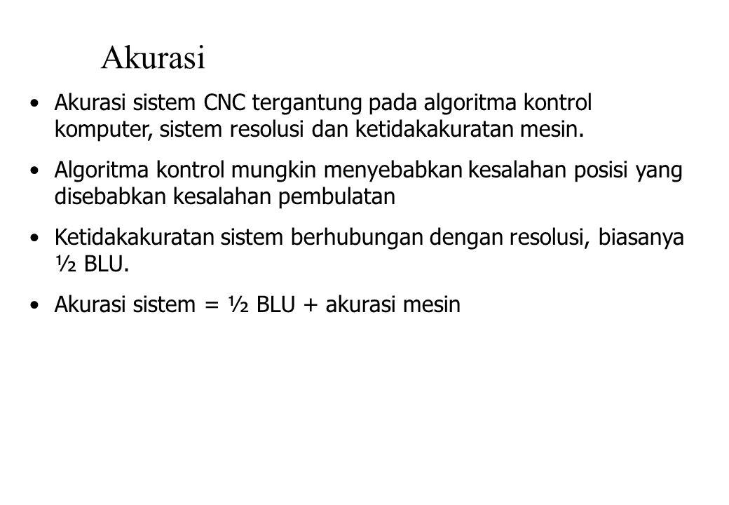 Akurasi Akurasi sistem CNC tergantung pada algoritma kontrol komputer, sistem resolusi dan ketidakakuratan mesin.