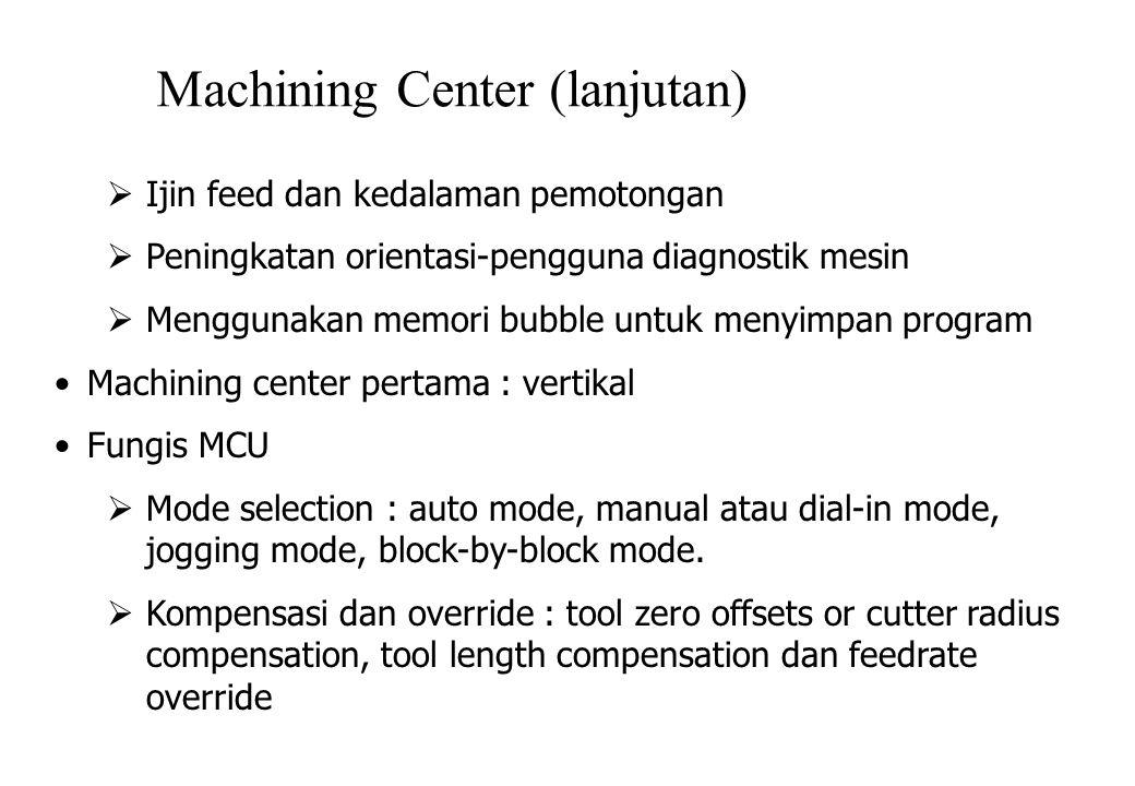 Machining Center (lanjutan)  Ijin feed dan kedalaman pemotongan  Peningkatan orientasi-pengguna diagnostik mesin  Menggunakan memori bubble untuk menyimpan program Machining center pertama : vertikal Fungis MCU  Mode selection : auto mode, manual atau dial-in mode, jogging mode, block-by-block mode.