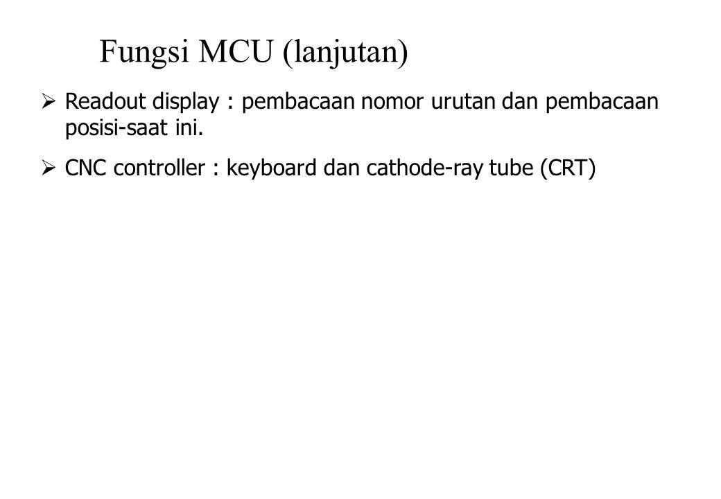 Fungsi MCU (lanjutan)  Readout display : pembacaan nomor urutan dan pembacaan posisi-saat ini.