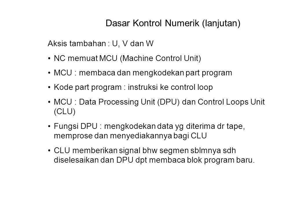 Dasar Kontrol Numerik (lanjutan) Aksis tambahan : U, V dan W NC memuat MCU (Machine Control Unit) MCU : membaca dan mengkodekan part program Kode part program : instruksi ke control loop MCU : Data Processing Unit (DPU) dan Control Loops Unit (CLU) Fungsi DPU : mengkodekan data yg diterima dr tape, memprose dan menyediakannya bagi CLU CLU memberikan signal bhw segmen sblmnya sdh diselesaikan dan DPU dpt membaca blok program baru.