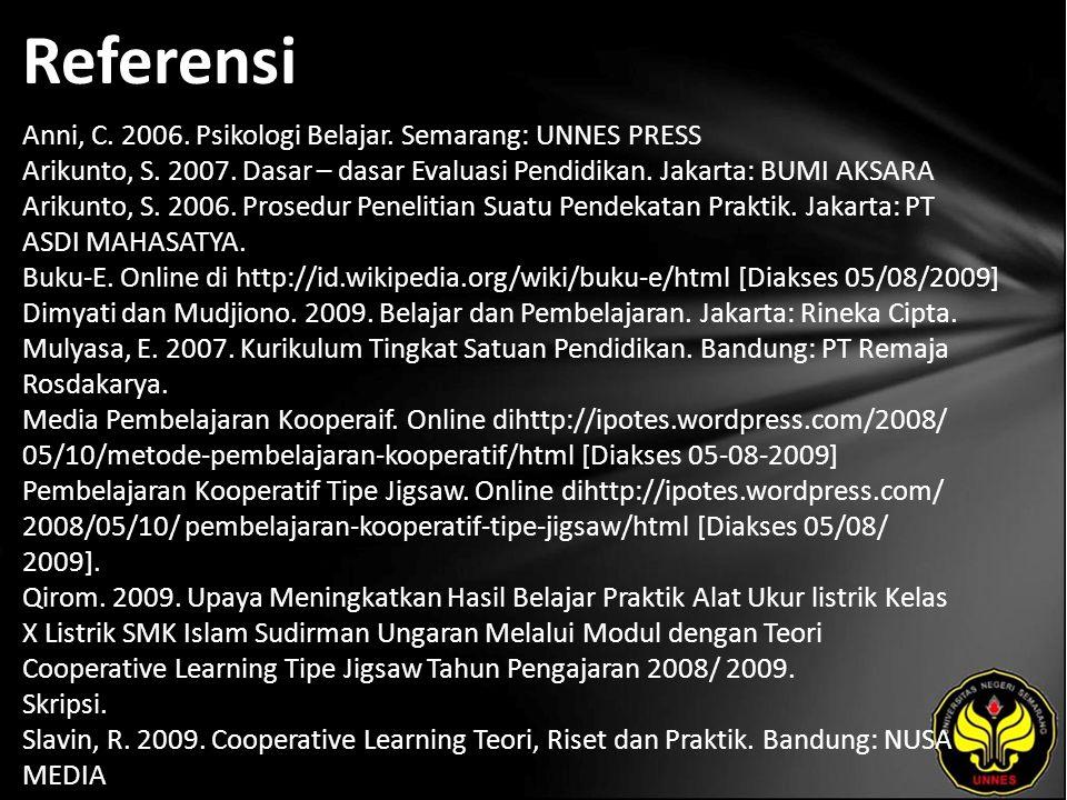 Referensi Anni, C. 2006. Psikologi Belajar. Semarang: UNNES PRESS Arikunto, S. 2007. Dasar – dasar Evaluasi Pendidikan. Jakarta: BUMI AKSARA Arikunto,