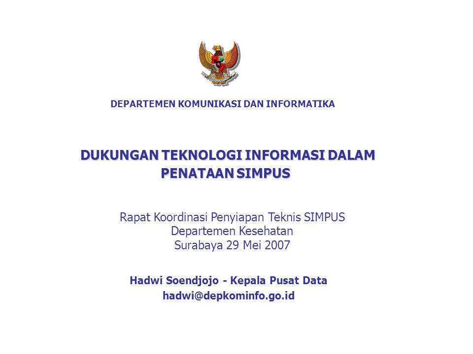 DEPARTEMEN KOMUNIKASI DAN INFORMATIKA Hadwi Soendjojo - Kepala Pusat Data hadwi@depkominfo.go.id DUKUNGAN TEKNOLOGI INFORMASI DALAM PENATAAN SIMPUS Ra