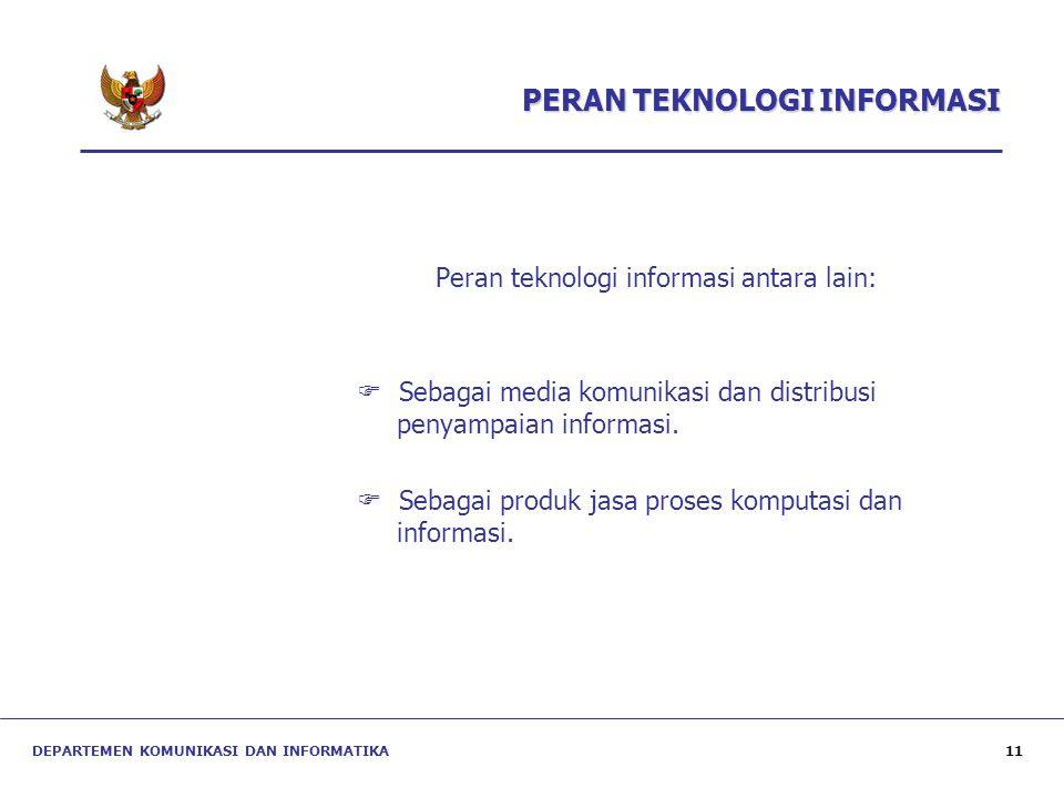 PERAN TEKNOLOGI INFORMASI Peran teknologi informasi antara lain:  Sebagai media komunikasi dan distribusi penyampaian informasi.  Sebagai produk jas