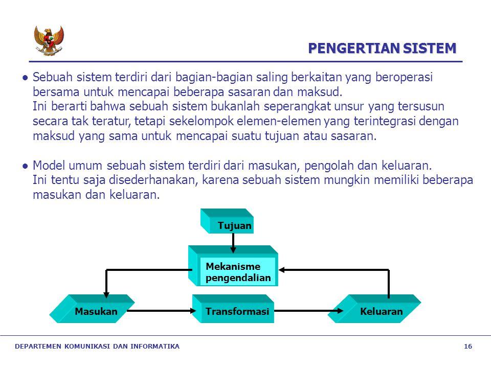 DEPARTEMEN KOMUNIKASI DAN INFORMATIKA 16 ● Sebuah sistem terdiri dari bagian-bagian saling berkaitan yang beroperasi bersama untuk mencapai beberapa s