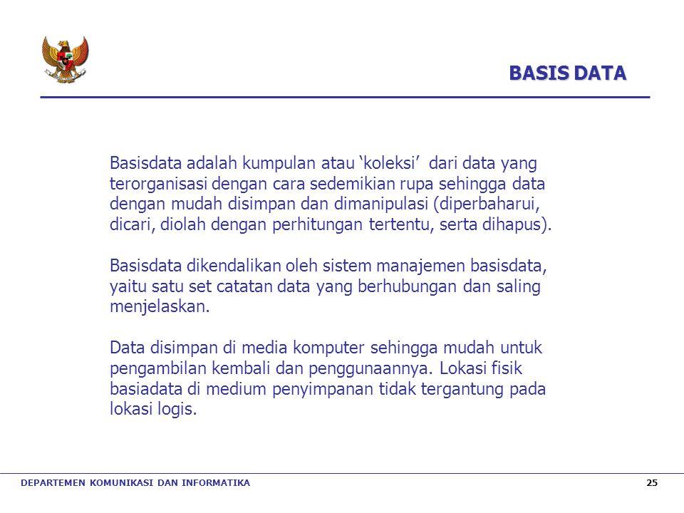 DEPARTEMEN KOMUNIKASI DAN INFORMATIKA 25 Basisdata adalah kumpulan atau 'koleksi' dari data yang terorganisasi dengan cara sedemikian rupa sehingga da