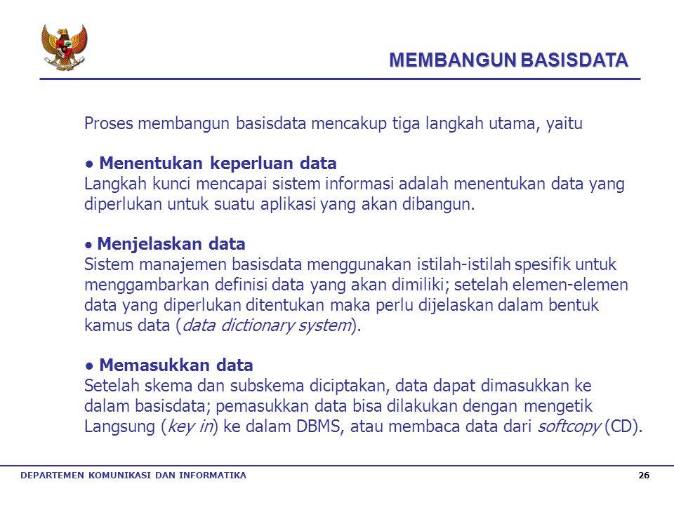 DEPARTEMEN KOMUNIKASI DAN INFORMATIKA 26 Proses membangun basisdata mencakup tiga langkah utama, yaitu ● Menentukan keperluan data Langkah kunci menca