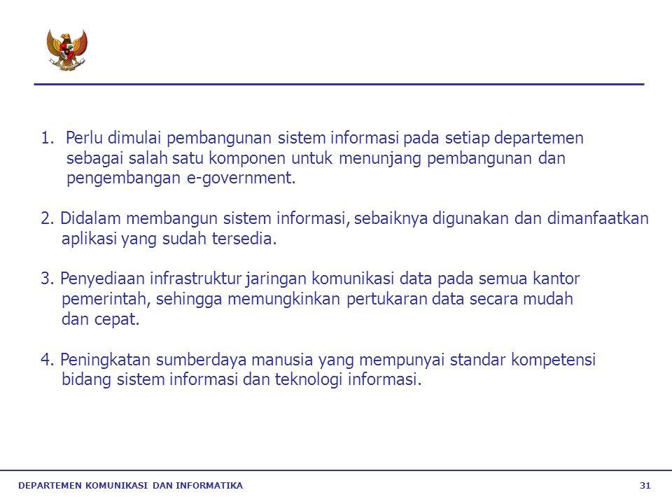 DEPARTEMEN KOMUNIKASI DAN INFORMATIKA 31 1.Perlu dimulai pembangunan sistem informasi pada setiap departemen sebagai salah satu komponen untuk menunja