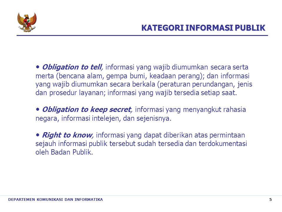 DEPARTEMEN KOMUNIKASI DAN INFORMATIKA 5 ● Obligation to tell, informasi yang wajib diumumkan secara serta merta (bencana alam, gempa bumi, keadaan per