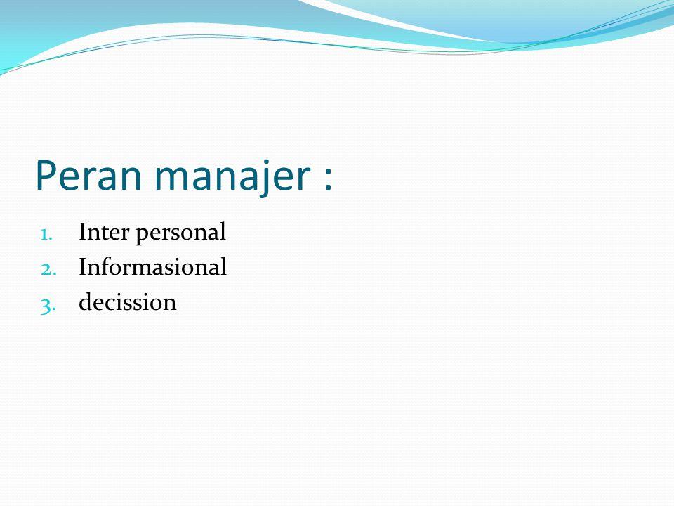 Peran manajer : 1. Inter personal 2. Informasional 3. decission