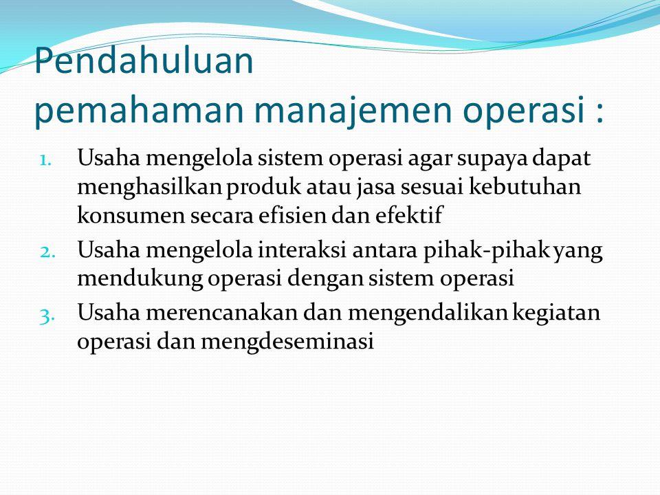 Pendahuluan pemahaman manajemen operasi : 1. Usaha mengelola sistem operasi agar supaya dapat menghasilkan produk atau jasa sesuai kebutuhan konsumen