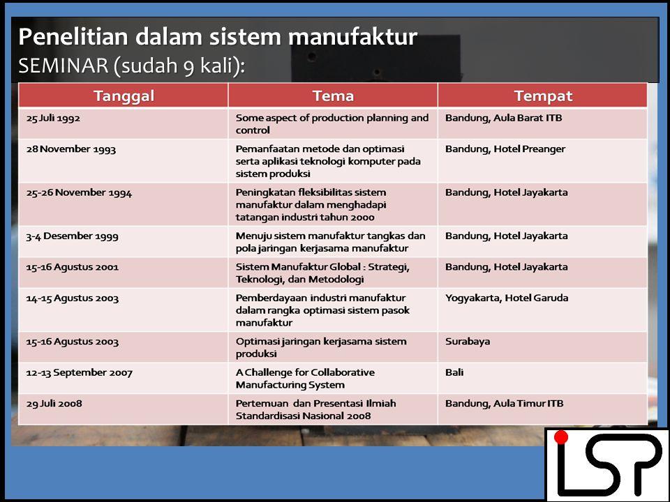 Penelitian dalam sistem manufaktur Penelitian Tugas Akhir mahasiswa Sarjana / Magister /Doktor Penelitian individu staf pengajar/kelompok Peran serta