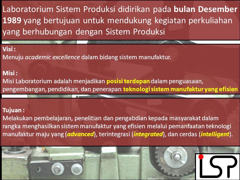 LABORATORIUM SISTEM PRODUKSI Laboratorium Sistem Produksi didirikan pada bulan Desember 1989 yang bertujuan untuk mendukung kegiatan perkuliahan yang berhubungan dengan Sistem Produksi Visi : Menuju academic excellence dalam bidang sistem manufaktur.