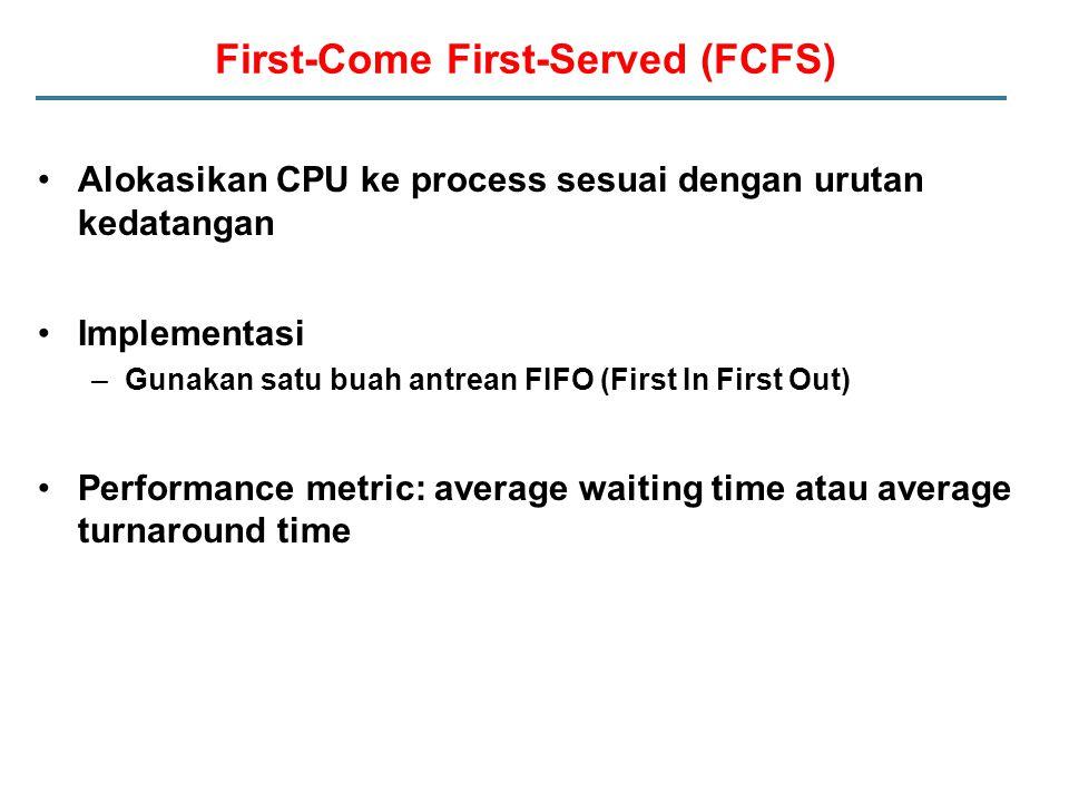 First-Come First-Served (FCFS) Alokasikan CPU ke process sesuai dengan urutan kedatangan Implementasi –Gunakan satu buah antrean FIFO (First In First Out) Performance metric: average waiting time atau average turnaround time