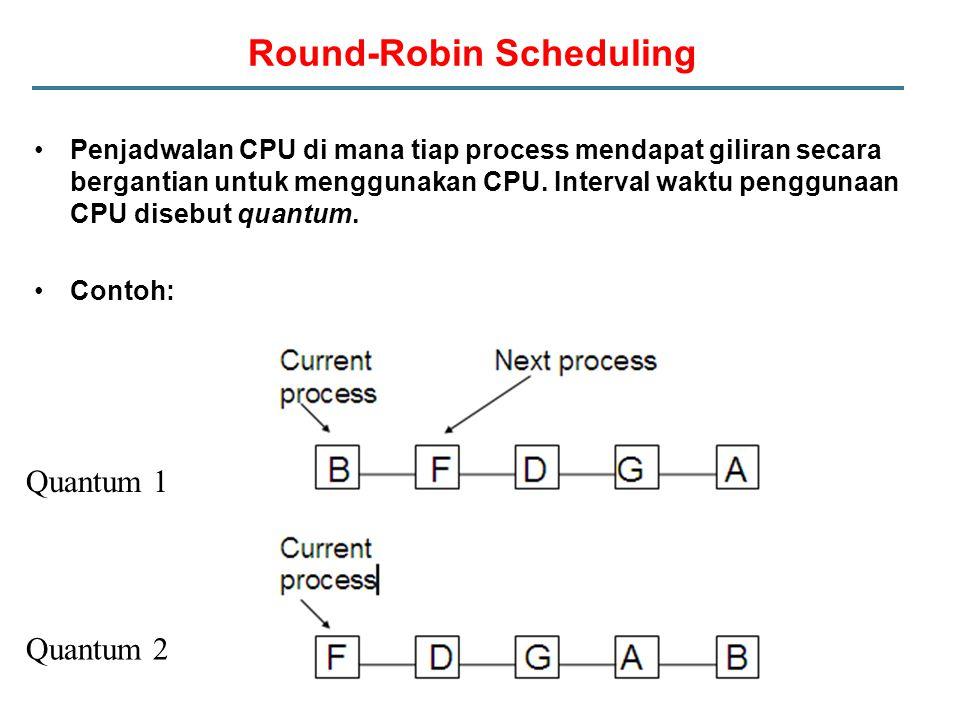 Round-Robin Scheduling Penjadwalan CPU di mana tiap process mendapat giliran secara bergantian untuk menggunakan CPU.