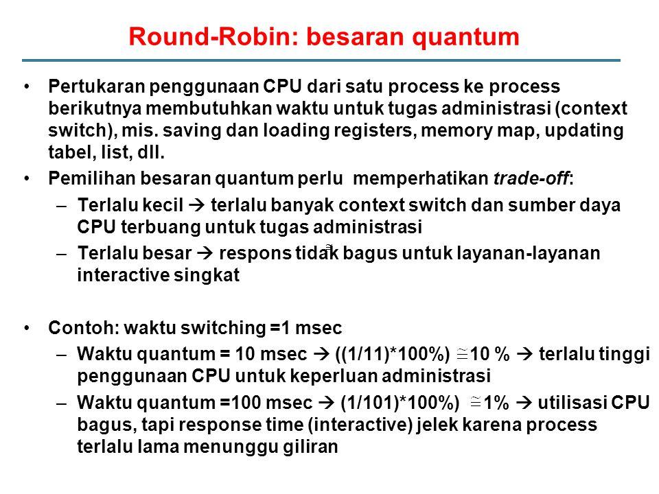 Round-Robin: besaran quantum Pertukaran penggunaan CPU dari satu process ke process berikutnya membutuhkan waktu untuk tugas administrasi (context switch), mis.