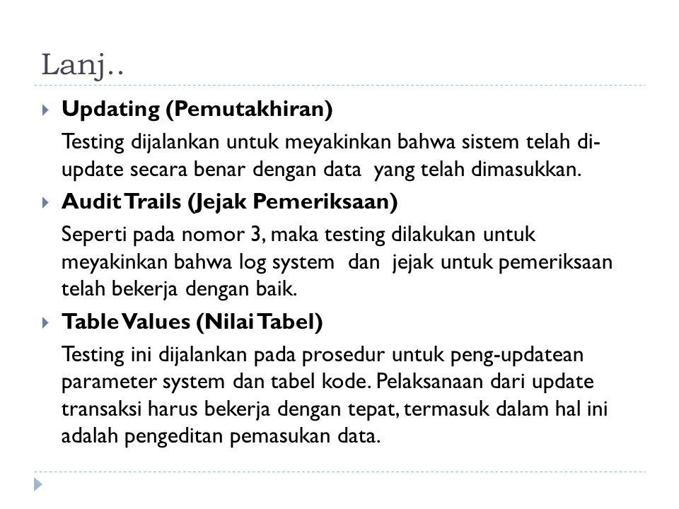 Lanj..  Updating (Pemutakhiran) Testing dijalankan untuk meyakinkan bahwa sistem telah di- update secara benar dengan data yang telah dimasukkan.  A