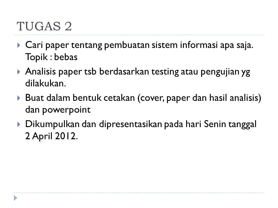TUGAS 2  Cari paper tentang pembuatan sistem informasi apa saja. Topik : bebas  Analisis paper tsb berdasarkan testing atau pengujian yg dilakukan.
