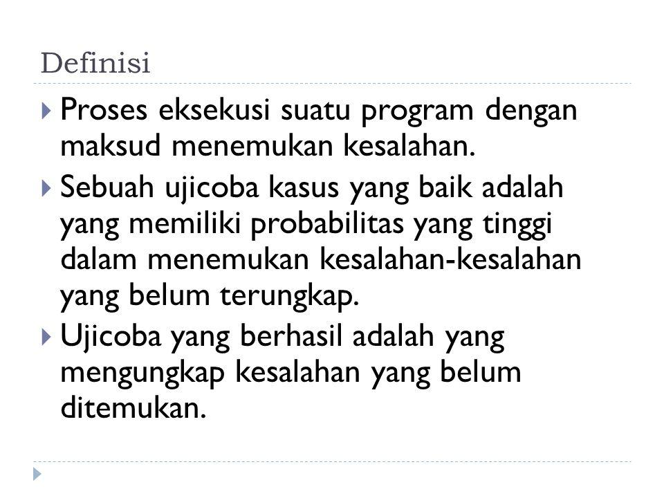 Definisi  Proses eksekusi suatu program dengan maksud menemukan kesalahan.  Sebuah ujicoba kasus yang baik adalah yang memiliki probabilitas yang ti