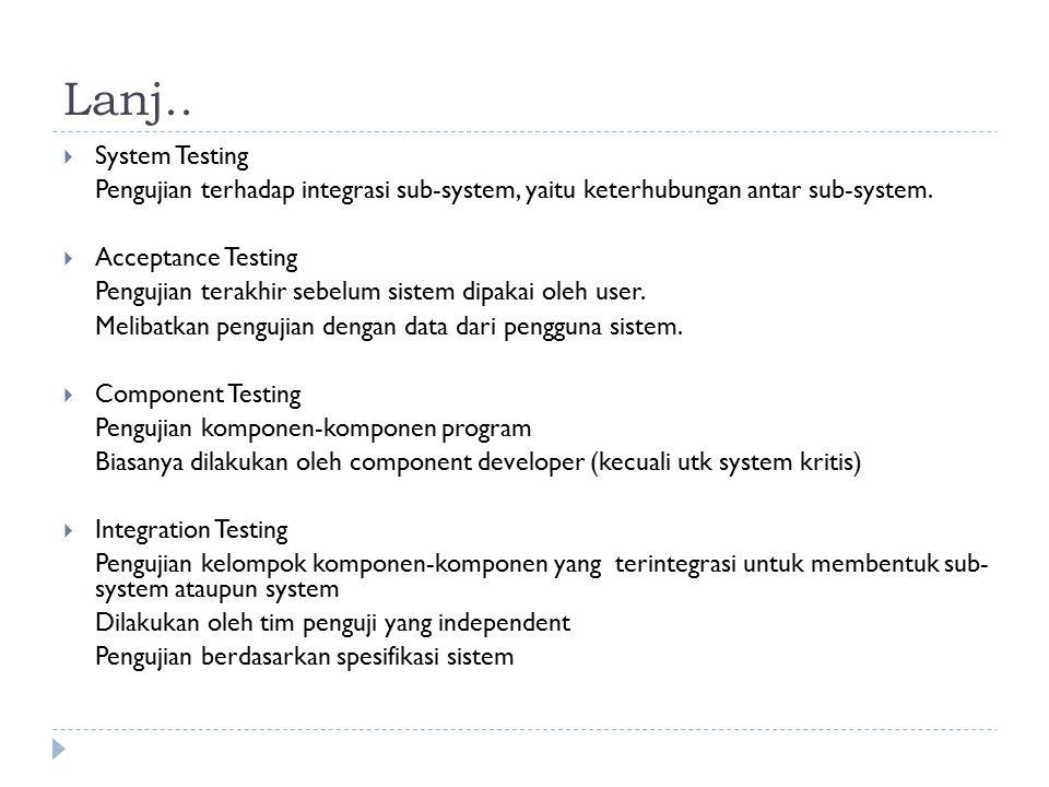 Lanj..  System Testing Pengujian terhadap integrasi sub-system, yaitu keterhubungan antar sub-system.  Acceptance Testing Pengujian terakhir sebelum