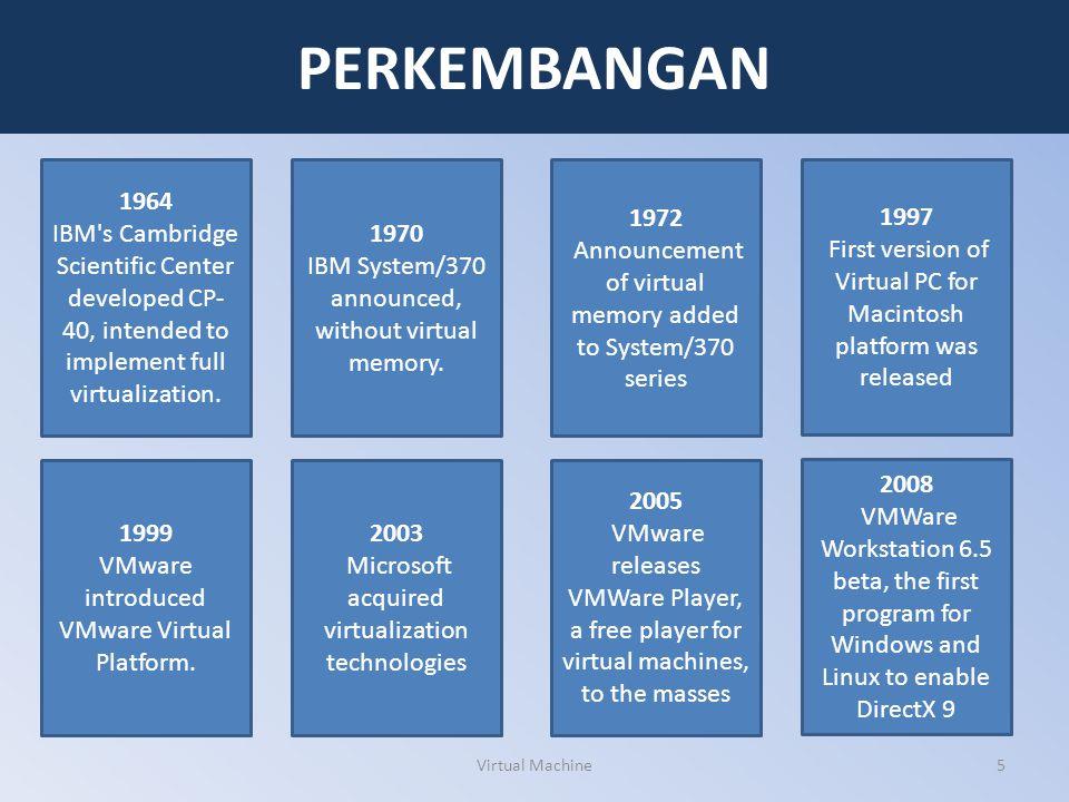 VIRTUALISASI Virtualisasi merupakan sebuah kerangka kerja atau metodologi untuk membagi sumber daya yang ada dalam sebuah sistem komputer ke dalam beberapa lingkungan eksekusi, dengan mengaplikasikan satu atau lebih konsep atau teknologi, seperti halnya partisi perangkat keras (hardware partitioning), partisi perangkat lunak (software partitioning), time sharing, simulasi mesin baik secara parsial atau secara keseluruhan, emulasi, Quality of Service, dan masih banyak lagi yang lainnya.