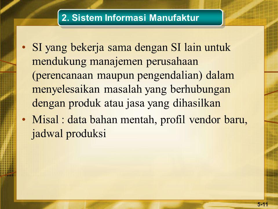 5-11 SI yang bekerja sama dengan SI lain untuk mendukung manajemen perusahaan (perencanaan maupun pengendalian) dalam menyelesaikan masalah yang berhubungan dengan produk atau jasa yang dihasilkan Misal : data bahan mentah, profil vendor baru, jadwal produksi 2.