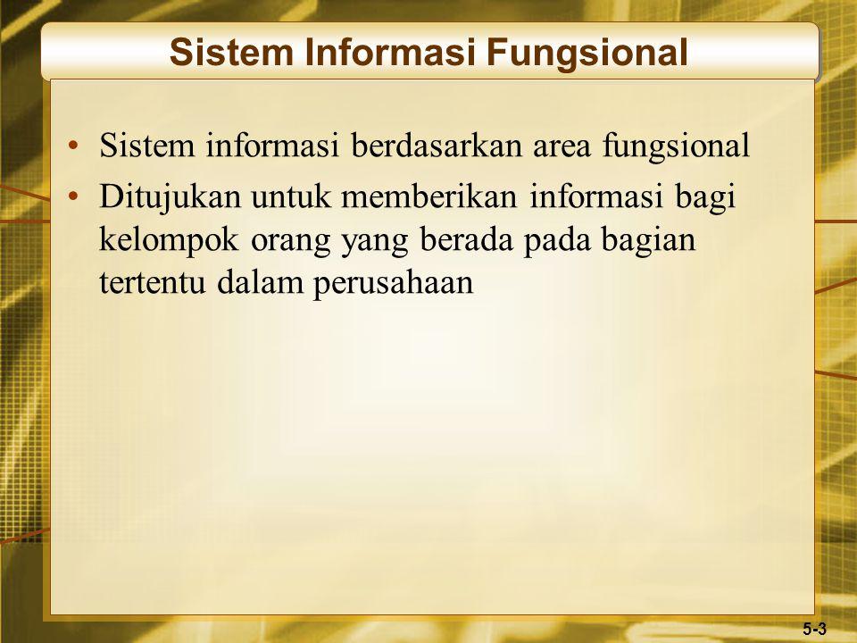 5-3 Sistem Informasi Fungsional Sistem informasi berdasarkan area fungsional Ditujukan untuk memberikan informasi bagi kelompok orang yang berada pada bagian tertentu dalam perusahaan