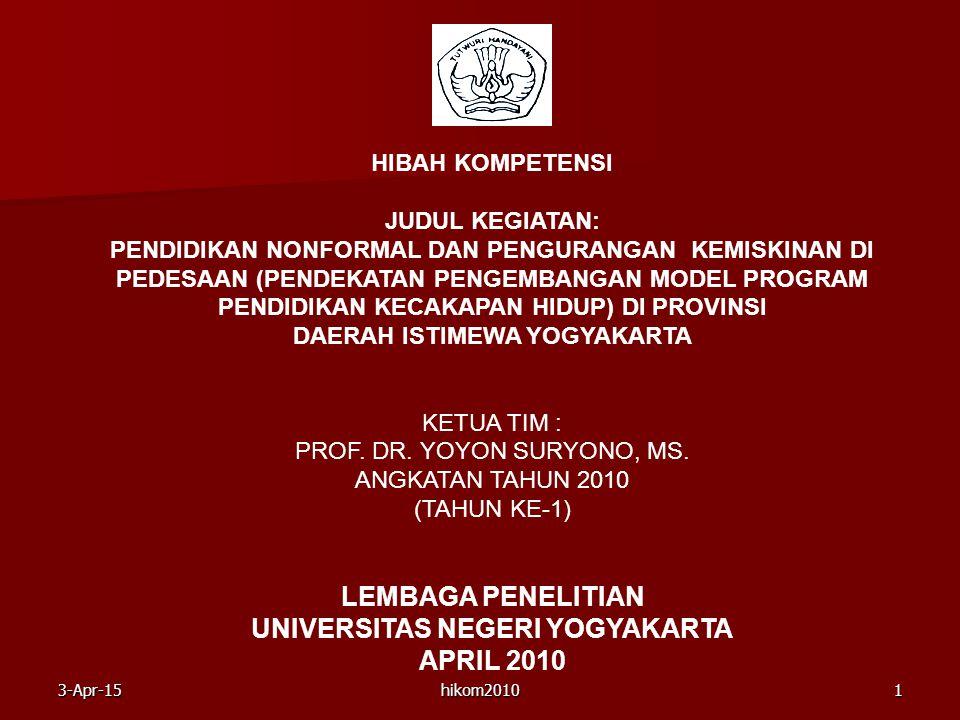 hikom20101 HIBAH KOMPETENSI JUDUL KEGIATAN: PENDIDIKAN NONFORMAL DAN PENGURANGAN KEMISKINAN DI PEDESAAN (PENDEKATAN PENGEMBANGAN MODEL PROGRAM PENDIDI