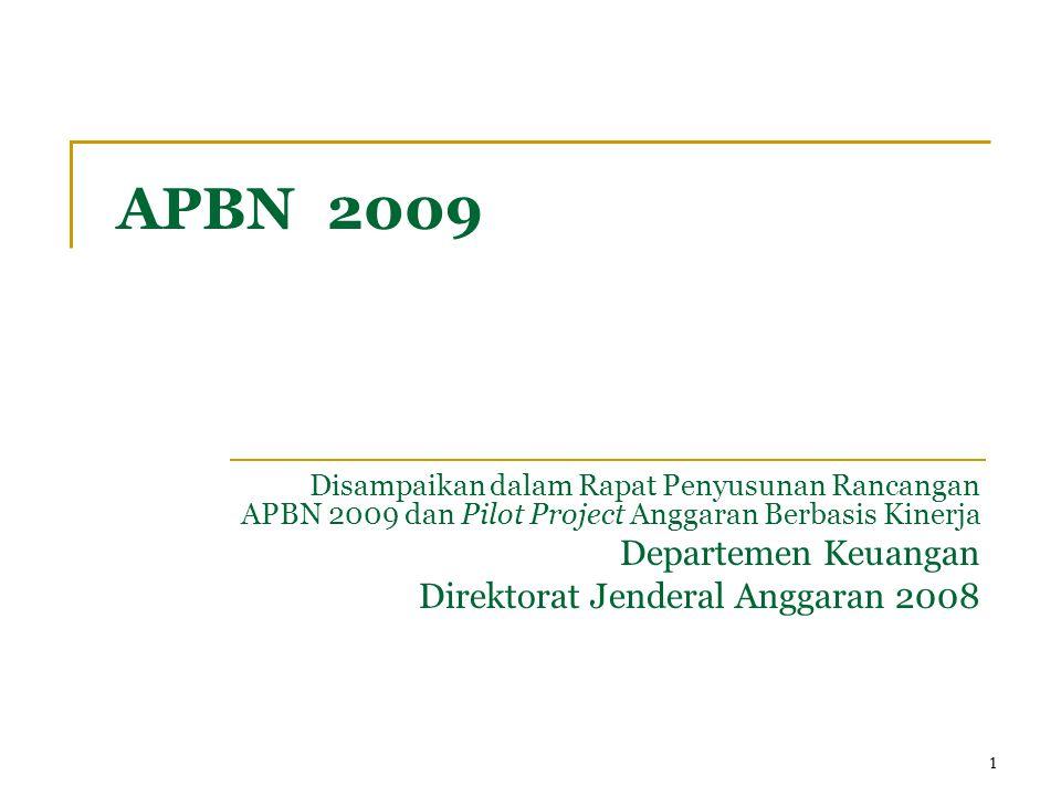 11 APBN 2009 Disampaikan dalam Rapat Penyusunan Rancangan APBN 2009 dan Pilot Project Anggaran Berbasis Kinerja Departemen Keuangan Direktorat Jenderal Anggaran 2008