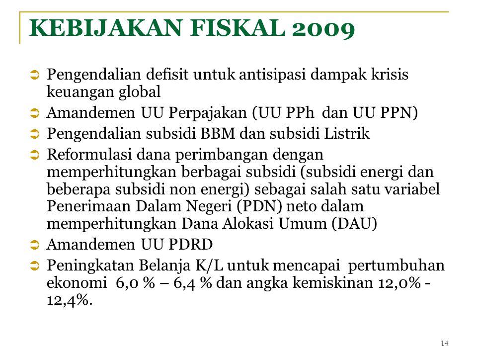 14 KEBIJAKAN FISKAL 2009  Pengendalian defisit untuk antisipasi dampak krisis keuangan global  Amandemen UU Perpajakan (UU PPh dan UU PPN)  Pengendalian subsidi BBM dan subsidi Listrik  Reformulasi dana perimbangan dengan memperhitungkan berbagai subsidi (subsidi energi dan beberapa subsidi non energi) sebagai salah satu variabel Penerimaan Dalam Negeri (PDN) neto dalam memperhitungkan Dana Alokasi Umum (DAU)  Amandemen UU PDRD  Peningkatan Belanja K/L untuk mencapai pertumbuhan ekonomi 6,0 % – 6,4 % dan angka kemiskinan 12,0% - 12,4%.