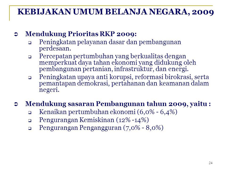 KEBIJAKAN UMUM BELANJA NEGARA, 2009  Mendukung Prioritas RKP 2009:  Peningkatan pelayanan dasar dan pembangunan perdesaan.  Percepatan pertumbuhan
