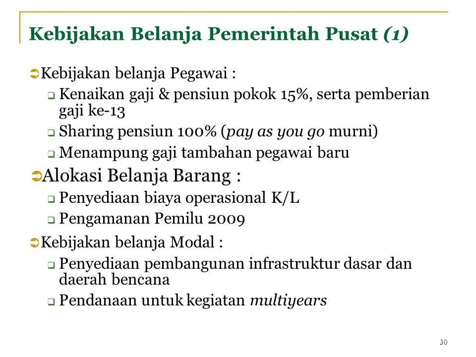 Kebijakan Belanja Pemerintah Pusat (1)  Kebijakan belanja Pegawai :  Kenaikan gaji & pensiun pokok 15%, serta pemberian gaji ke-13  Sharing pensiun