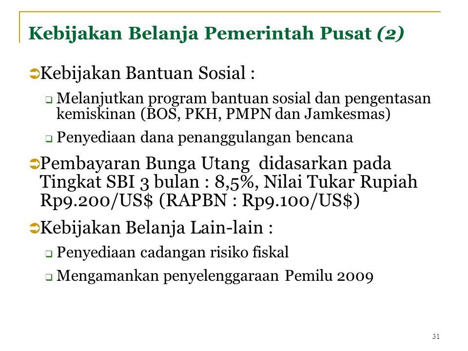 Kebijakan Belanja Pemerintah Pusat (2)  Kebijakan Bantuan Sosial :  Melanjutkan program bantuan sosial dan pengentasan kemiskinan (BOS, PKH, PMPN dan Jamkesmas)  Penyediaan dana penanggulangan bencana  Pembayaran Bunga Utang didasarkan pada Tingkat SBI 3 bulan : 8,5%, Nilai Tukar Rupiah Rp9.200/US$ (RAPBN : Rp9.100/US$)  Kebijakan Belanja Lain-lain :  Penyediaan cadangan risiko fiskal  Mengamankan penyelenggaraan Pemilu 2009 31