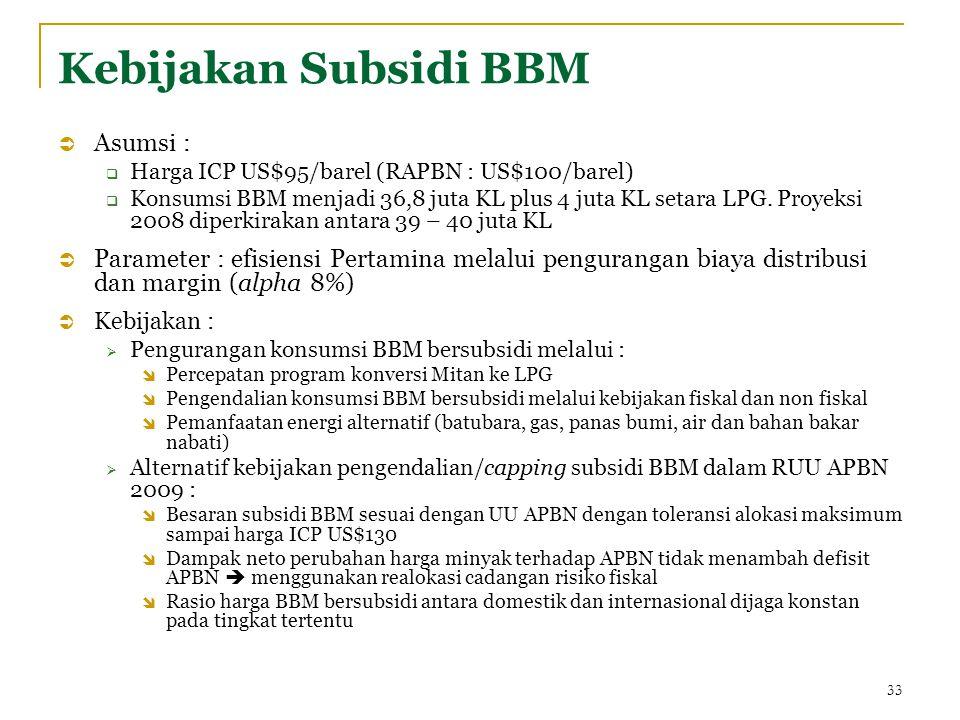 Kebijakan Subsidi BBM  Asumsi :  Harga ICP US$95/barel (RAPBN : US$100/barel)  Konsumsi BBM menjadi 36,8 juta KL plus 4 juta KL setara LPG.
