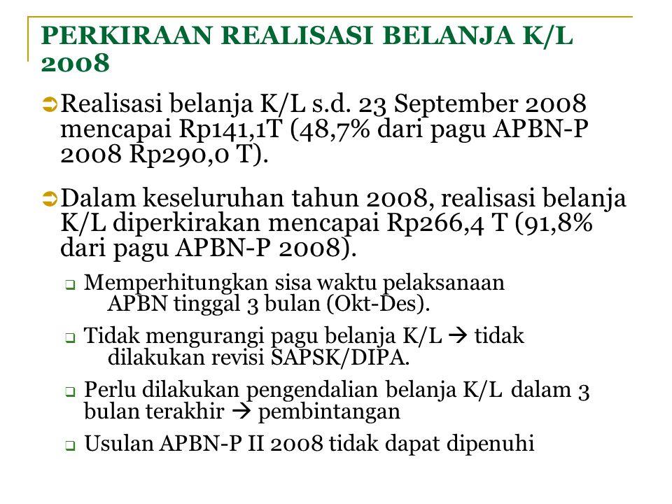 PERKIRAAN REALISASI BELANJA K/L 2008  Realisasi belanja K/L s.d. 23 September 2008 mencapai Rp141,1T (48,7% dari pagu APBN-P 2008 Rp290,0 T).  Dalam
