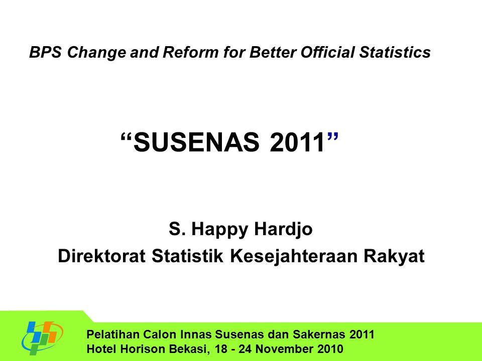 S. Happy Hardjo Direktorat Statistik Kesejahteraan Rakyat Pelatihan Calon Innas Susenas dan Sakernas 2011 Hotel Horison Bekasi, 18 - 24 November 2010