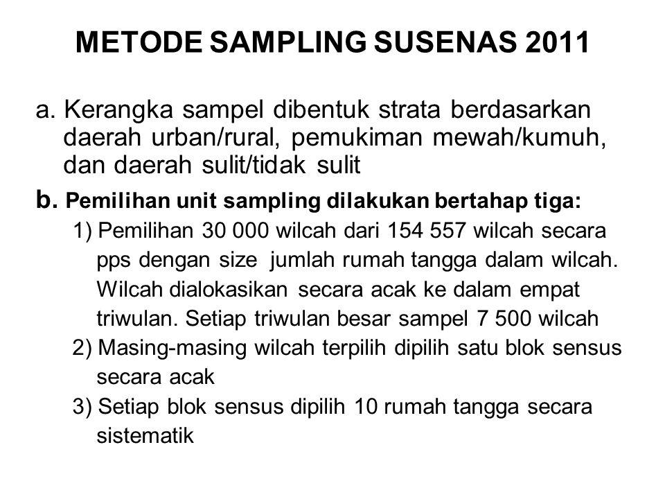 METODE SAMPLING SUSENAS 2011 a. Kerangka sampel dibentuk strata berdasarkan daerah urban/rural, pemukiman mewah/kumuh, dan daerah sulit/tidak sulit b.