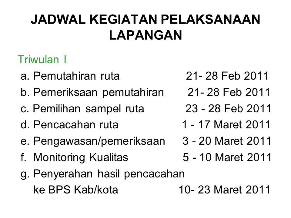 JADWAL KEGIATAN PELAKSANAAN LAPANGAN Triwulan I a. Pemutahiran ruta 21- 28 Feb 2011 b. Pemeriksaan pemutahiran 21- 28 Feb 2011 c. Pemilihan sampel rut