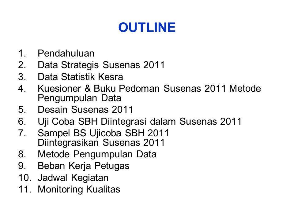 OUTLINE 1.Pendahuluan 2.Data Strategis Susenas 2011 3.Data Statistik Kesra 4.Kuesioner & Buku Pedoman Susenas 2011 Metode Pengumpulan Data 5.Desain Su