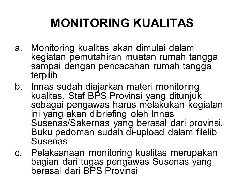 MONITORING KUALITAS a.Monitoring kualitas akan dimulai dalam kegiatan pemutahiran muatan rumah tangga sampai dengan pencacahan rumah tangga terpilih b.Innas sudah diajarkan materi monitoring kualitas.