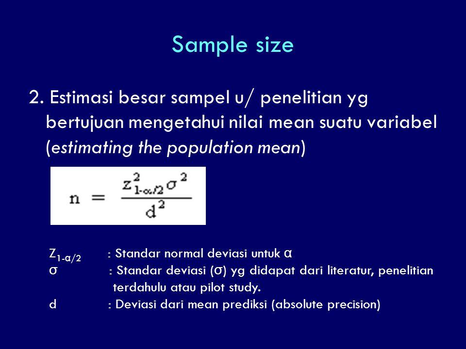 Sample size 2. Estimasi besar sampel u/ penelitian yg bertujuan mengetahui nilai mean suatu variabel (estimating the population mean) Z 1- α /2 : Stan