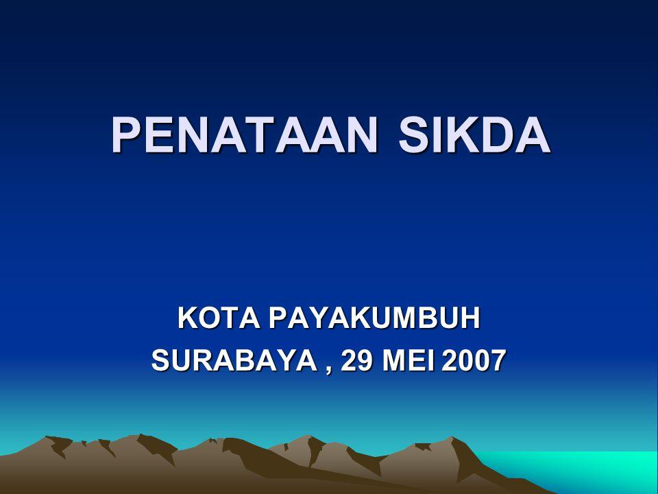 PENATAAN SIKDA PENATAAN SIKDA KOTA PAYAKUMBUH SURABAYA, 29 MEI 2007