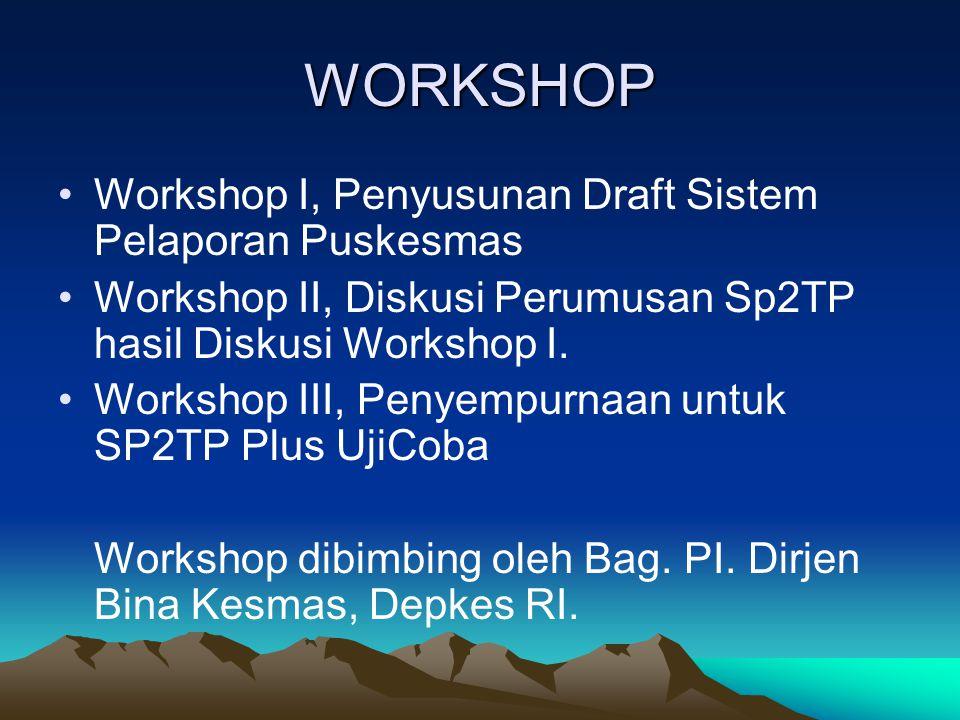 WORKSHOP Workshop I, Penyusunan Draft Sistem Pelaporan Puskesmas Workshop II, Diskusi Perumusan Sp2TP hasil Diskusi Workshop I. Workshop III, Penyempu