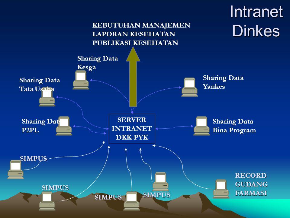 Intranet Dinkes SIMPUS SIMPUS SIMPUS SIMPUS RECORDGUDANGFARMASI SERVER INTRANET DKK-PYK Sharing Data Bina Program Sharing Data Yankes Sharing Data Kes