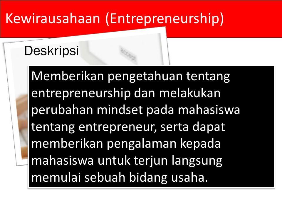 Deskripsi Memberikan pengetahuan tentang entrepreneurship dan melakukan perubahan mindset pada mahasiswa tentang entrepreneur, serta dapat memberikan pengalaman kepada mahasiswa untuk terjun langsung memulai sebuah bidang usaha.