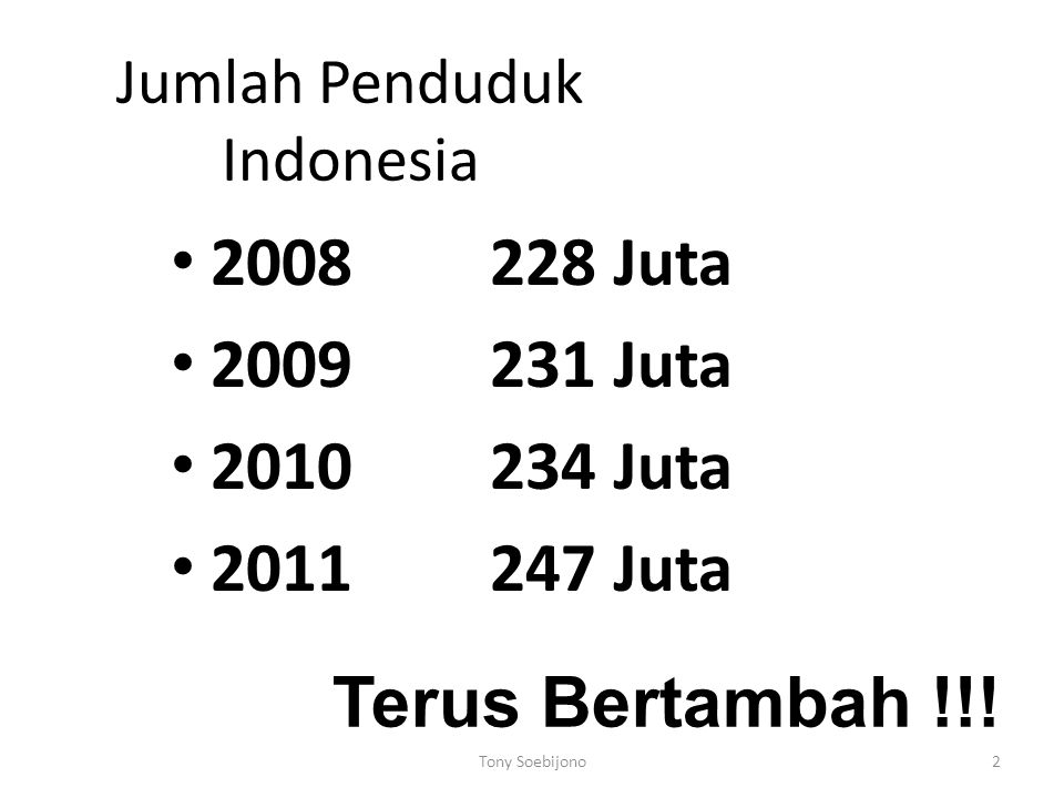 2 Jumlah Penduduk Indonesia 2008228 Juta 2009231 Juta 2010234 Juta 2011247 Juta Terus Bertambah !!.