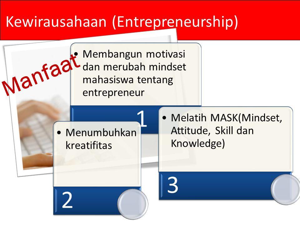 Membangun motivasi dan merubah mindset mahasiswa tentang entrepreneur 1 Menumbuhka n kreatifitas 2 Melatih MASK(Mindset, Attitude, Skill dan Knowledge) 3 Manfaat Kewirausahaan (Entrepreneurship)
