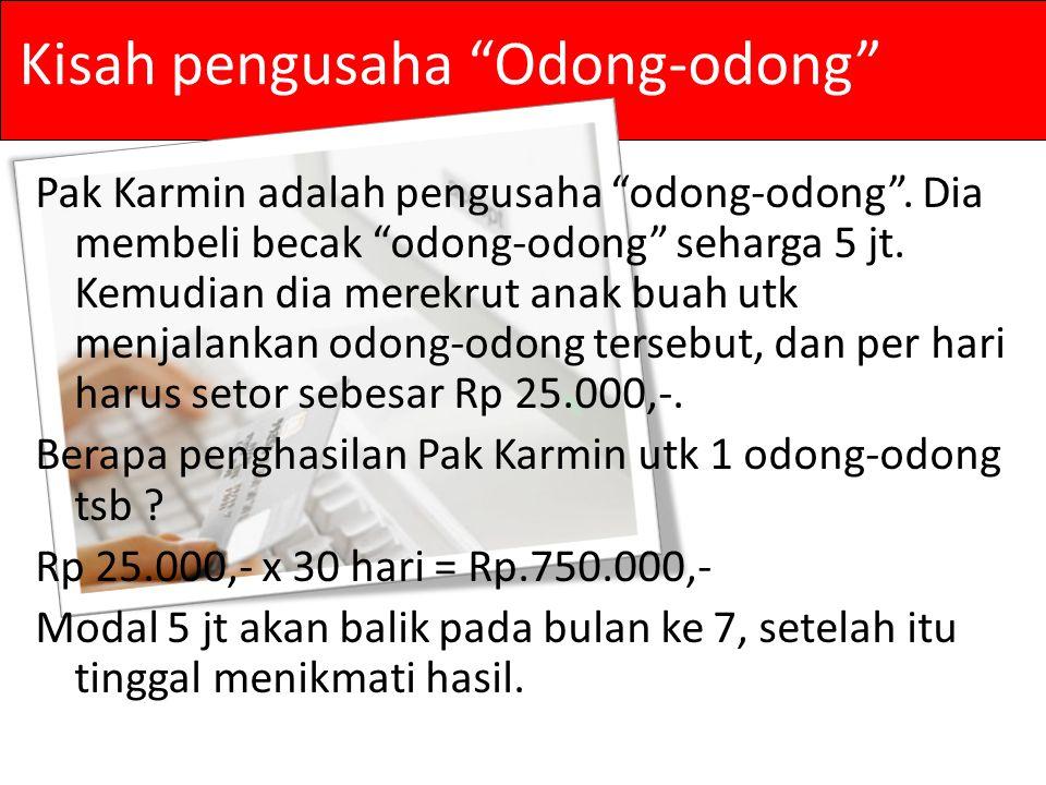 Kisah pengusaha Odong-odong Pak Karmin adalah pengusaha odong-odong .