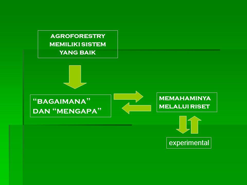 """agroforestry memiliki sistem yang baik """"bagaimana"""" dan """"mengapa"""" memahaminya melalui riset experimental"""
