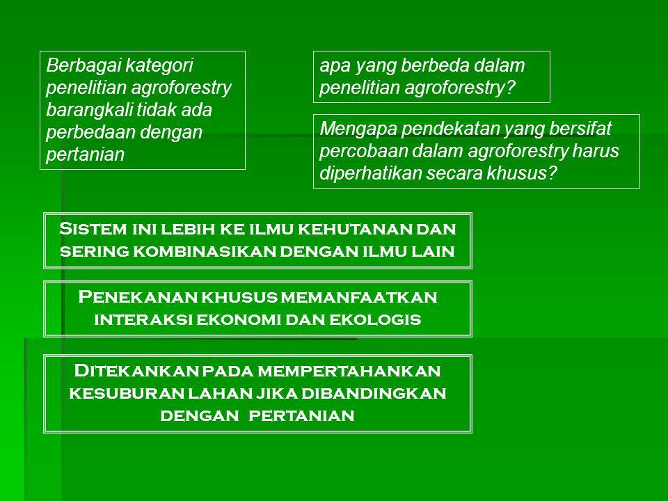 Berbagai kategori penelitian agroforestry barangkali tidak ada perbedaan dengan pertanian apa yang berbeda dalam penelitian agroforestry? Mengapa pend